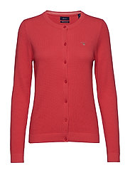 COTTON PIQUE CARDIGAN - WATERMELON RED