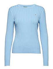 D1. STRETCH COTTON RIB CREW - CAPRI BLUE