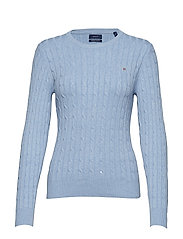 STRETCH COTTON CABLE CREW - FROST BLUE MEL