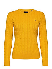 STRETCH COTTON CABLE C-NECK - IVY GOLD