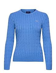 STRETCH COTTON CABLE C-NECK - PACIFIC BLUE
