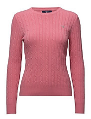 STRETCH COTTON CABLE CREW - PINK ROSE