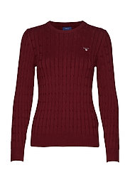 STRETCH COTTON CABLE C-NECK - PORT RED