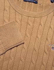 GANT - STRETCH COTTON CABLE C-NECK - jumpers - warm khaki - 2