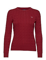 STRETCH COTTON CABLE CREW - WINTER WINE