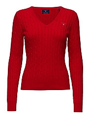 STRETCH COTTON CABLE V-NECK - BRIGHT RED