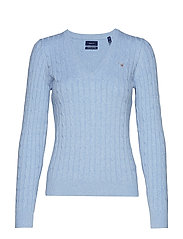 STRETCH COTTON CABLE V-NECK - FROST BLUE MEL