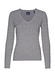 STRETCH COTTON CABLE V-NECK - GREY MELANGE