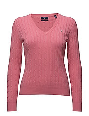 STRETCH COTTON CABLE V-NECK - PINK ROSE