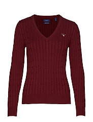 STRETCH COTTON CABLE V-NECK - PORT RED