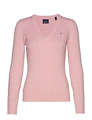 STRETCH COTTON CABLE V-NECK - PREPPY PINK