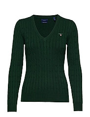 STRETCH COTTON CABLE V-NECK - TARTAN GREEN