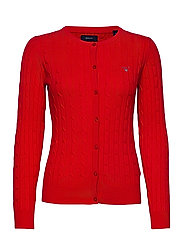STRETCH COTTON CABLE CREW CARDIGAN - BRIGHT RED