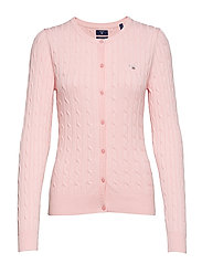 STRETCH COTTON CABLE CREW CARDIGAN - CALIFORNIA PINK