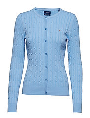 STRETCH COTTON CABLE CREW CARDIGAN - CAPRI BLUE