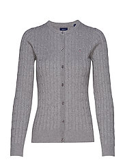 STRETCH COTTON CABLE CREW CARDIGAN - GREY MELANGE
