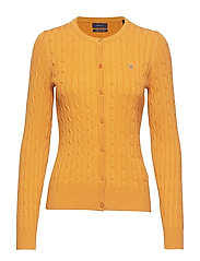 STRETCH COTTON CABLE CREW CARDIGAN - HONEY GOLD