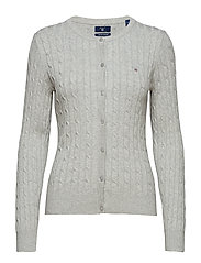 STRETCH COTTON CABLE CREW CARDIGAN - LIGHT GREY MELANGE