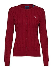 STRETCH COTTON CABLE CREW CARDIGAN - MAHOGNY RED