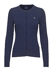 STRETCH COTTON CABLE CREW CARDIGAN - PERSIAN BLUE