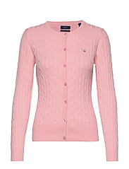 STRETCH COTTON CABLE CREW CARDIGAN - PREPPY PINK