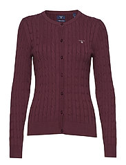 STRETCH COTTON CABLE CREW CARDIGAN - PURPLE FIG