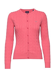 STRETCH COTTON CABLE CREW CARDIGAN - RAPTURE ROSE