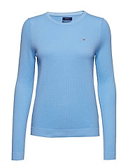COTTON PIQUE CREW - CAPRI BLUE