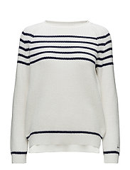 O2. CHUNKY STRIPED CREW - EGGSHELL