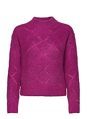 D2. WOOL MOHAIR POINTELLE CREW - ORCHID PURPLE