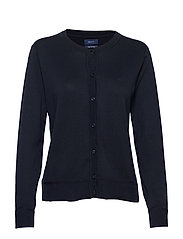 LIGHT COTTON CREW CARDIGAN - EVENING BLUE