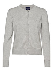 LIGHT COTTON CREW CARDIGAN - LIGHT GREY MELANGE