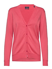 LIGHT COTTON VNECK CARDIGAN - RAPTURE ROSE