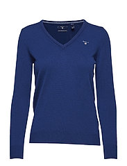 SUPERFINE LAMBSWOOL V-NECK - COLLEGE BLUE