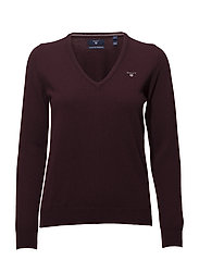 SUPERFINE LAMBSWOOL V-NECK - PURPLE FIG