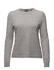 OP1. MINI CABLE CREW NECK - LIGHT GREY MELANGE