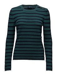 OP2. BRETON STRIPED CREW NECK - JUNE BUG GREEN