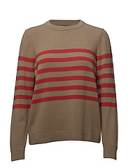 O1. STRIPED COTTON CREW - WARM KHAKI