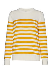 D1. STRIPED COTTON CREW - CREAM