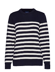 D1. STRIPED COTTON CREW - EVENING BLUE