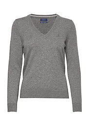 SUPERFINE LAMBSWOOL V-NECK - DARK GREY MELANGE