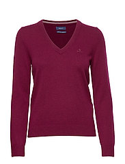SUPERFINE LAMBSWOOL V-NECK - DK. BURGUNDY MEL