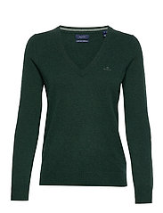 SUPERFINE LAMBSWOOL V-NECK - TARTAN GREEN