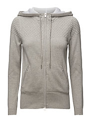 TECH PREP TEXTURED HOODIE - LIGHT GREY MELANGE
