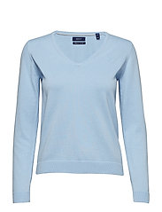LT WT COTTON V-NECK - CAPRI BLUE