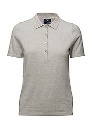 SOFT COTTON POLO SHIRT - LIGHT GREY MELANGE