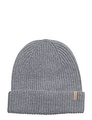 O1. RIB KNIT HAT - LIGHT GREY MELANGE