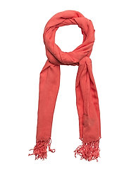 O2. BAR STRIPE VISCOSE SCARF - STRONG CORAL