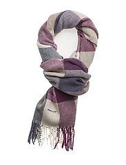 O1. MULTICHECK LAMBSWOOL SCARF - MUSCADINE GRAPE