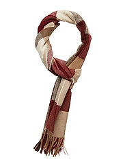 GANT O1. MULTICHECK LAMBSWOOL SCARF - PORT RED